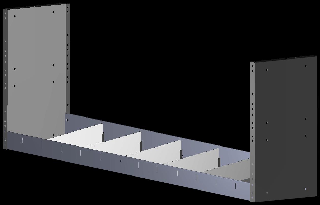 Tussenbak v.v. rubber antislipmat en 6 x schotverdeling