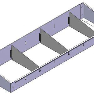 Opzetbak v.v. rubber antislipmat  en 3 x schotverdeling