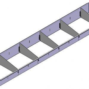 Opzetbak v.v. rubber antislipmat  en 5 x schotverdeling