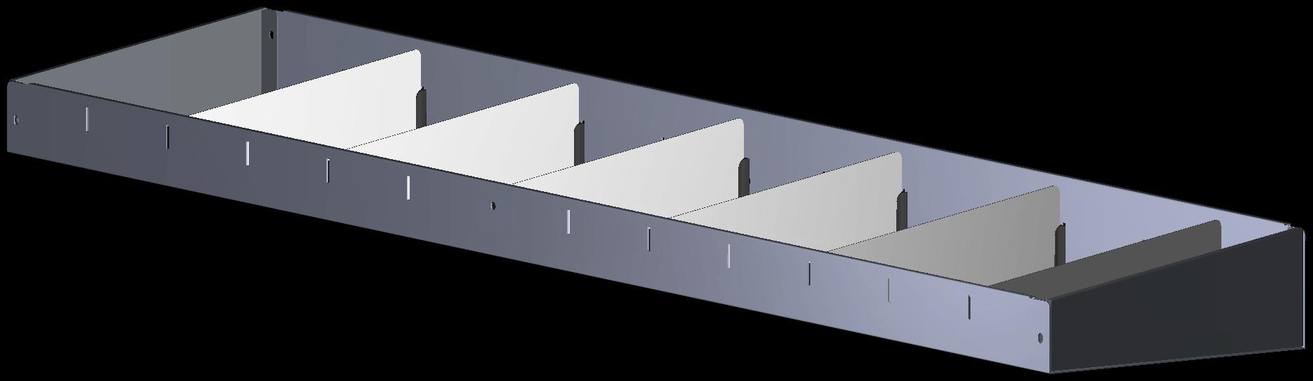 Opzetbak v.v. rubber antislipmat  en 6 x schotverdeling