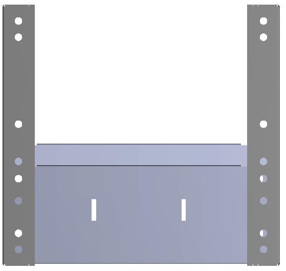 Aluminium tussenbak v.v. rubber antislipmat en 2 x schotverdeling