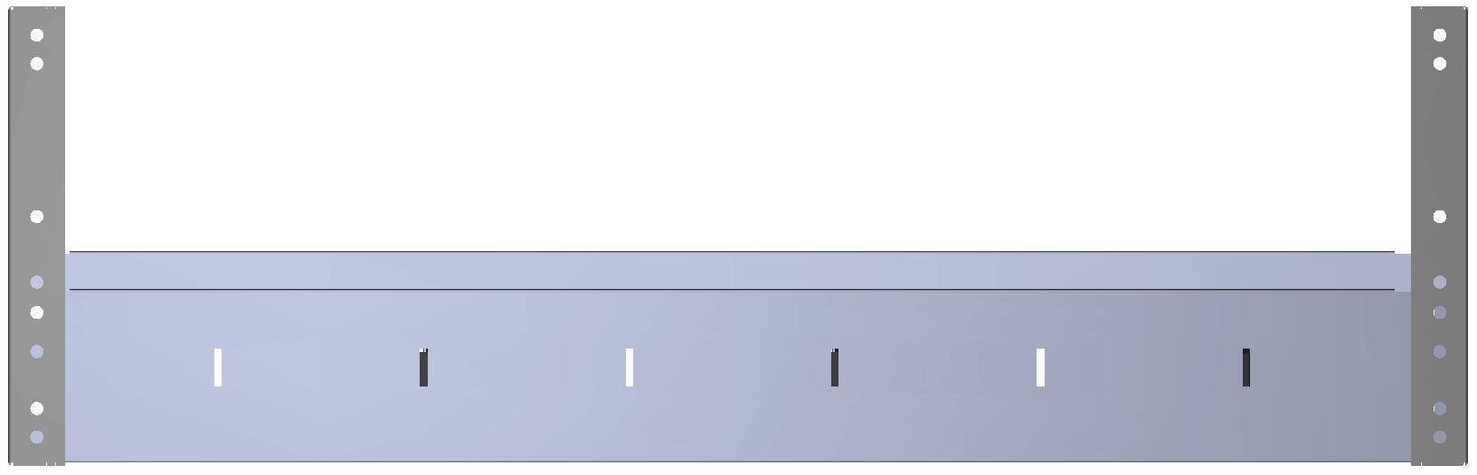 Aluminium tussenbak v.v. rubber antislipmat en 3 x schotverdeling