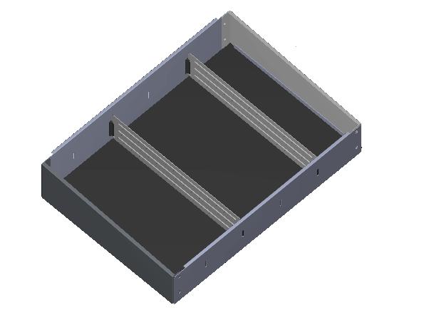 Aluminium opzetbak v.v. rubber antislipmat en 2 x schotverdeling