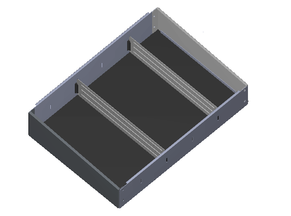 Aluminium opzetbak v.v. rubber antislipmat en 5 x schotverdeling